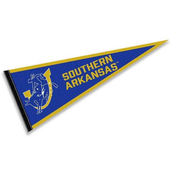 Southern Arkansas Muleriders Pennant consists of our full size sports pennant which measures 12x30 inches, is constructed of felt, is single sided imprinted, and offers a pennant sleeve for insertion of a pennant stick, if desired. This Southern Arkansas Muleriders Pennant Decorations is Officially Licensed by the selected university and the NCAA.