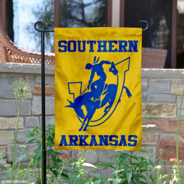 Southern Arkansas University Garden Flag is 13x18 inches in size, is made of 2-layer polyester, screen printed university athletic logos and lettering, and is readable and viewable correctly on both sides. Available same day shipping, our Southern Arkansas University Garden Flag is officially licensed and approved by the university and the NCAA.