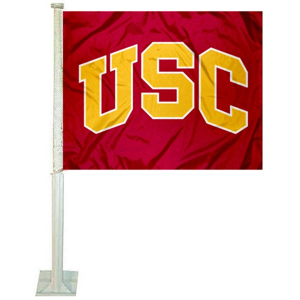 Southern Cal Arch USC Car Flag measures 12x15 inches, is constructed of sturdy 2 ply polyester, and has screen printed school logos which are readable and viewable correctly on both sides. Southern Cal Arch USC Car Flag is officially licensed by the NCAA and selected university.