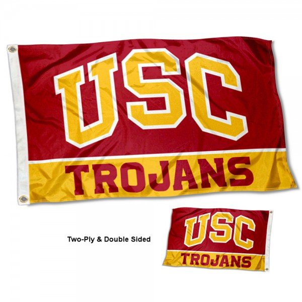 Southern Cal Trojans Double Sided Flag measures 3'x5', is made of 2 layer 100% nylon, has quadruple stitched flyends for durability, and is readable correctly on both sides. Our Southern Cal Trojans Double Sided Flag is officially licensed by the university, school, and the NCAA.