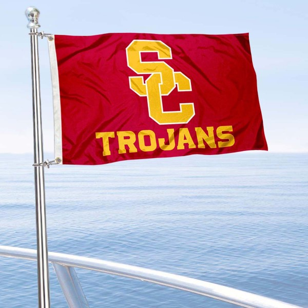 Southern Cal Trojans New Logo Boat Flag is 12x18 inches, nylon, offers quadruple stitched flyends for durability, has two metal grommets, and is double sided. Our mini flags for Southern Cal Trojans are licensed by the university and NCAA and can be used as a boat flag, motorcycle flag, golf cart flag, or ATV flag.