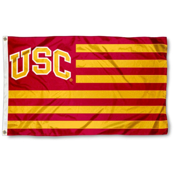 Southern Cal Trojans Stripes Nation Flag measures 3'x5', is made of nylon, offers four-stitched flyends for durability, has two metal grommets, and is viewable from both sides with a reverse image on the opposite side. Our Southern Cal Trojans Stripes Nation Flag is officially licensed by the selected school university and the NCAA.
