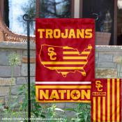Southern Cal USC Trojans Garden Flag with USA Country Stars and Stripes
