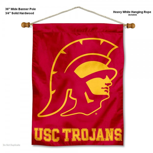 "Southern Cal USC Trojans Trojan Head Wall Banner is constructed of polyester material, measures a large 28""x40"", offers screen printed athletic logos, and includes a sturdy 3/4"" diameter and 36"" wide banner pole and hanging cord. Our Southern Cal USC Trojans Trojan Head Wall Banner is Officially Licensed by the selected college and NCAA."