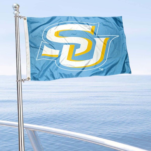 Southern Jaguars Boat and Mini Flag is 12x18 inches, polyester, offers quadruple stitched flyends for durability, has two metal grommets, and is double sided. Our mini flags for Southern University are licensed by the university and NCAA and can be used as a boat flag, motorcycle flag, golf cart flag, or ATV flag.