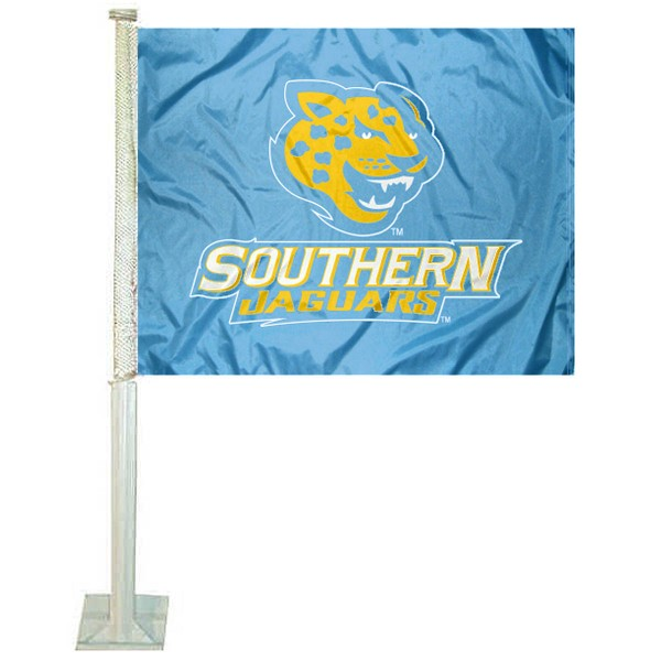 Southern Jaguars Car Window Flag measures 12x15 inches, is constructed of sturdy 2 ply polyester, and has screen printed school logos which are readable and viewable correctly on both sides. Southern Jaguars Car Window Flag is officially licensed by the NCAA and selected university.
