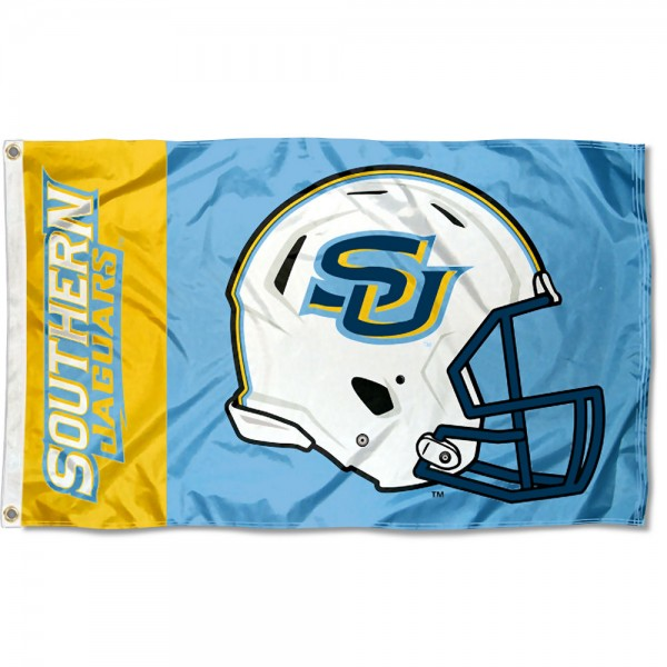 Southern Jaguars Football Helmet Flag measures 3x5 feet, is made of 100% polyester, offers quadruple stitched flyends, has two metal grommets, and offers screen printed NCAA team logos and insignias. Our Southern Jaguars Football Helmet Flag is officially licensed by the selected university and NCAA.
