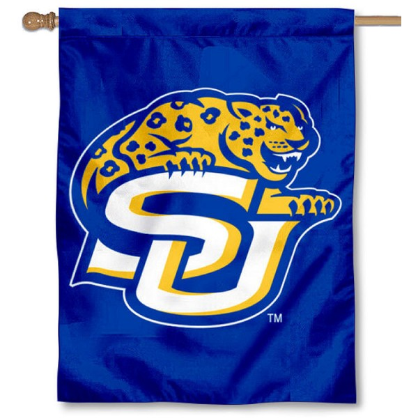 Southern Jaguars House Flag is a vertical house flag which measures 30x40 inches, is made of 2 ply 100% polyester, offers screen printed NCAA team insignias, and has a top pole sleeve to hang vertically. Our Southern Jaguars House Flag is officially licensed by the selected university and the NCAA.