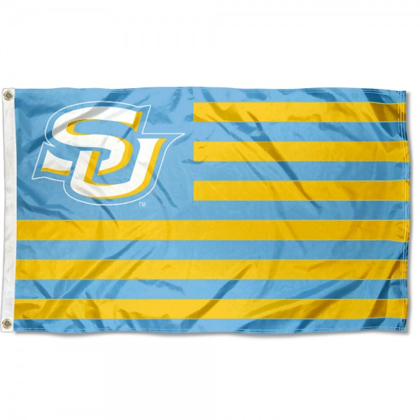Southern Jaguars Light Blue American Stripes Flag measures 3'x5', is made of polyester, offers double stitched flyends for durability, has two metal grommets, and is viewable from both sides with a reverse image on the opposite side. Our Southern Jaguars Light Blue American Stripes Flag is officially licensed by the selected school university and the NCAA.