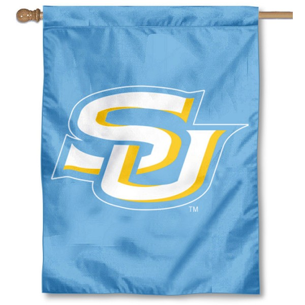 Southern Jaguars Light Blue Double Sided House Flag is a vertical house flag which measures 30x40 inches, is made of 2 ply 100% polyester, offers screen printed NCAA team insignias, and has a top pole sleeve to hang vertically. Our Southern Jaguars Light Blue Double Sided House Flag is officially licensed by the selected university and the NCAA.