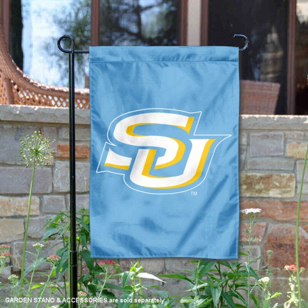Southern Jaguars Light Blue Garden Flag is 13x18 inches in size, is made of 2-layer polyester, screen printed university athletic logos and lettering, and is readable and viewable correctly on both sides. Available same day shipping, our Southern Jaguars Light Blue Garden Flag is officially licensed and approved by the university and the NCAA.