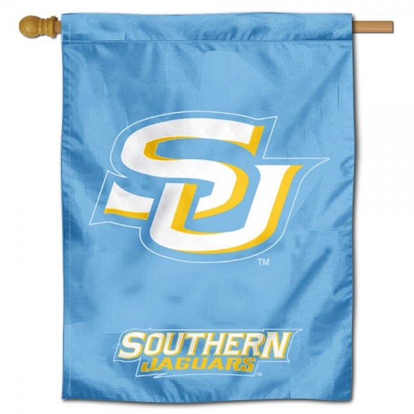 "Southern Jaguars Logo Banner Flag is constructed of polyester material, is a vertical house flag, measures 30""x40"", offers screen printed athletic insignias, and has a top pole sleeve to hang vertically. Our Southern Jaguars Logo Banner Flag is Officially Licensed by Southern Jaguars and NCAA."