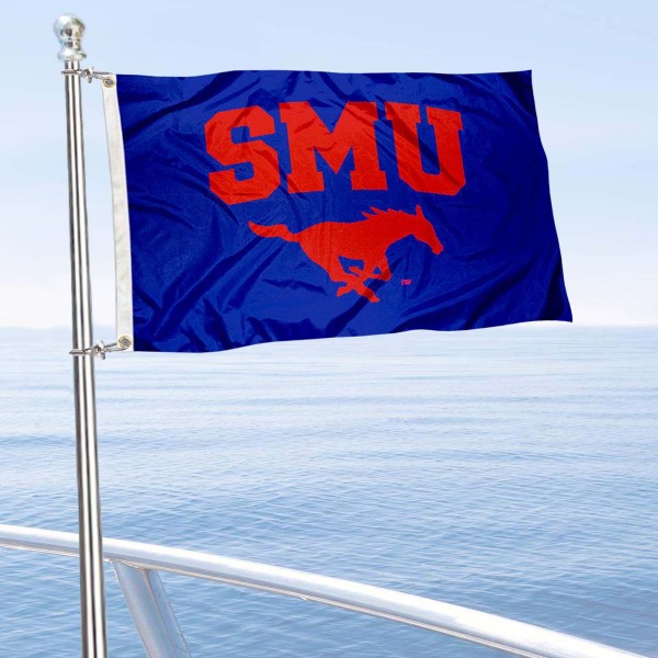 Southern Methodist Mustangs Boat and Mini Flag is 12x18 inches, polyester, offers quadruple stitched flyends for durability, has two metal grommets, and is double sided. Our mini flags for Southern Methodist University are licensed by the university and NCAA and can be used as a boat flag, motorcycle flag, golf cart flag, or ATV flag.