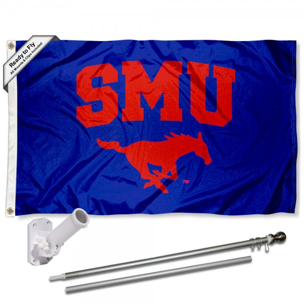 Our Southern Methodist Mustangs Flag Pole and Bracket Kit includes the flag as shown and the recommended flagpole and flag bracket. The flag is made of polyester, has quad-stitched flyends, and the NCAA Licensed team logos are double sided screen printed. The flagpole and bracket are made of rust proof aluminum and includes all hardware so this kit is ready to install and fly.