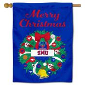 Southern Methodist Mustangs Happy Holidays Banner Flag