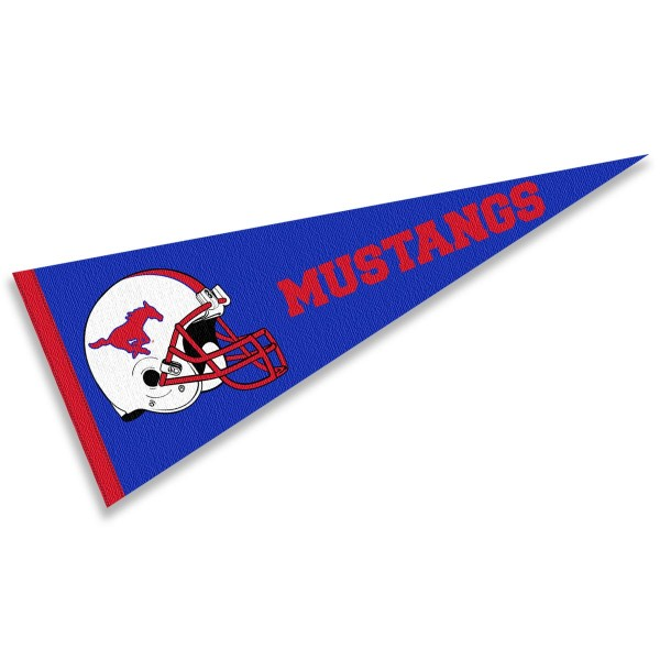 Southern Methodist Mustangs Helmet Pennant consists of our full size sports pennant which measures 12x30 inches, is constructed of felt, is single sided imprinted, and offers a pennant sleeve for insertion of a pennant stick, if desired. This Southern Methodist Mustangs Pennant Decorations is Officially Licensed by the selected university and the NCAA.