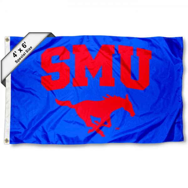 Southern Methodist Mustangs Large 4x6 Flag measures 4x6 feet, is made thick woven polyester, has quadruple stitched flyends, two metal grommets, and offers screen printed NCAA Southern Methodist Mustangs Large athletic logos and insignias. Our Southern Methodist Mustangs Large 4x6 Flag is officially licensed by Southern Methodist Mustangs and the NCAA.