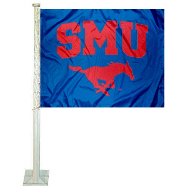 Southern Methodist University Car Window Flag measures 12x15 inches, is constructed of sturdy 2 ply polyester, and has dye sublimated school logos which are readable and viewable correctly on both sides. Southern Methodist University Car Window Flag is officially licensed by the NCAA and selected university.