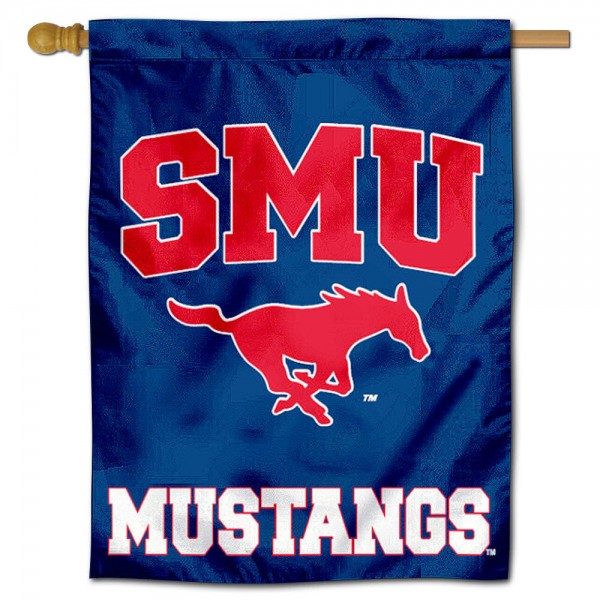 "Southern Methodist University Mustangs Decorative Flag is constructed of polyester material, is a vertical house flag, measures 30""x40"", offers screen printed athletic insignias, and has a top pole sleeve to hang vertically. Our Southern Methodist University Mustangs Decorative Flag is Officially Licensed by Southern Methodist University Mustangs and NCAA."