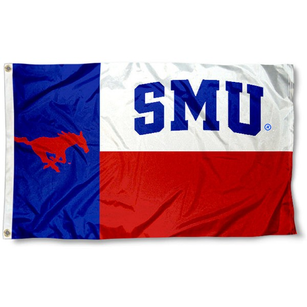 Southern Methodist University State Flag measures 3'x5', is made of 100% poly, has quadruple stitched sewing, two metal grommets, and has double sided Southern Methodist University logos. Our Southern Methodist University State Flag is officially licensed by the selected university and the NCAA