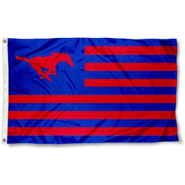 Southern Methodist University Stripes Flag measures 3'x5', is made of polyester, offers double stitched flyends for durability, has two metal grommets, and is viewable from both sides with a reverse image on the opposite side. Our Southern Methodist University Stripes Flag is officially licensed by the selected school university and the NCAA.