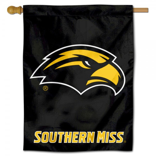 "Southern Miss Banner Flag is constructed of polyester material, is a vertical house flag, measures 30""x40"", offers screen printed athletic insignias, and has a top pole sleeve to hang vertically. Our Southern Miss Banner Flag is Officially Licensed by University of Southern Mississippi and NCAA."