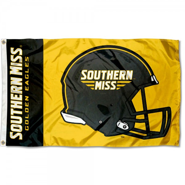 Southern Miss Eagles Football Helmet Flag measures 3x5 feet, is made of 100% polyester, offers quadruple stitched flyends, has two metal grommets, and offers screen printed NCAA team logos and insignias. Our Southern Miss Eagles Football Helmet Flag is officially licensed by the selected university and NCAA.