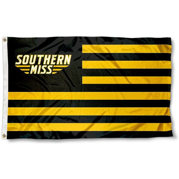 Southern Miss Eagles Stripes Flag measures 3'x5', is made of polyester, offers double stitched flyends for durability, has two metal grommets, and is viewable from both sides with a reverse image on the opposite side. Our Southern Miss Eagles Stripes Flag is officially licensed by the selected school university and the NCAA.