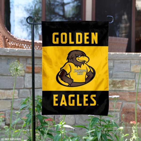Southern Miss Garden Flag is 13x18 inches in size, is made of 2-layer polyester, screen printed Golden Eagles athletic logos and lettering. Available with Same Day Express Shipping, Our Southern Miss Garden Flag is officially licensed and approved by Golden Eagles and the NCAA.