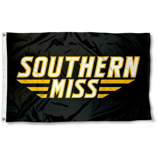 Southern Miss Wordmark Logo Flag measures 3'x5', is made of 100% poly, has quadruple stitched sewing, two metal grommets, and has double sided Team University logos. Our Southern Miss Golden Eagles 3x5 Flag is officially licensed by the selected university and the NCAA.