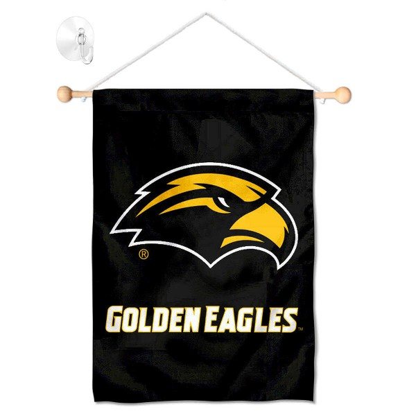 "Southern Mississippi Eagles Banner with Suction Cup kit includes our 13""x18"" garden banner which is made of 2 ply poly with liner and has screen printed licensed logos. Also, a 17"" wide banner pole with suction cup is included so your Southern Mississippi Eagles Banner with Suction Cup is ready to be displayed with no tools needed for setup. Fast Overnight Shipping is offered and the flag is Officially Licensed and Approved by the selected team."