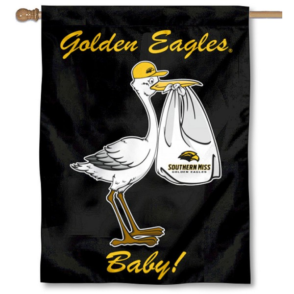 Southern Mississippi Eagles New Baby Flag measures 30x40 inches, is made of poly, has a top hanging sleeve, and offers dye sublimated Southern Mississippi Eagles logos. This Decorative Southern Mississippi Eagles New Baby House Flag is officially licensed by the NCAA.