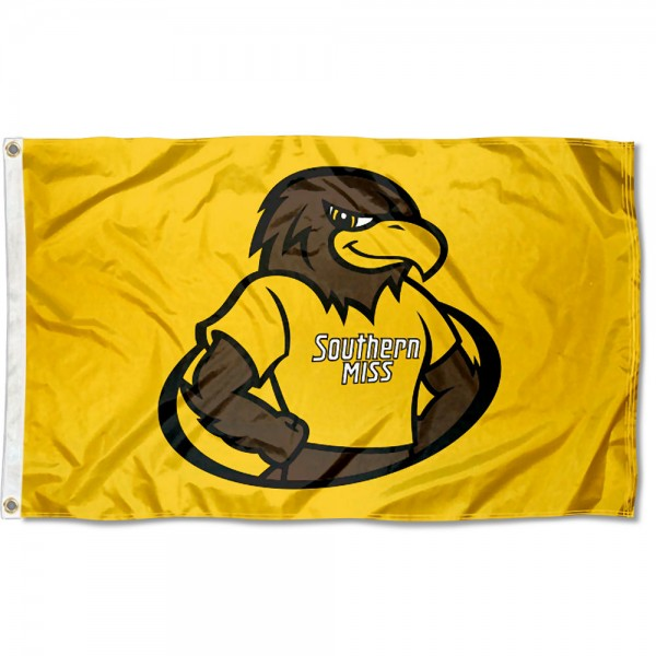 Southern Mississippi Eagles Seymour Mascot Flag measures 3x5 feet, is made of 100% polyester, offers quadruple stitched flyends, has two metal grommets, and offers screen printed NCAA team logos and insignias. Our Southern Mississippi Eagles Seymour Mascot Flag is officially licensed by the selected university and NCAA.