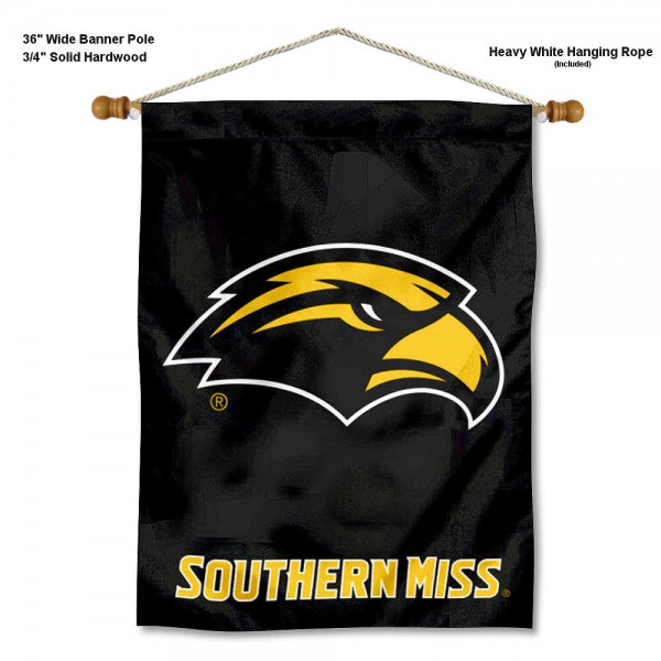 "Southern Mississippi Eagles Wall Banner is constructed of polyester material, measures a large 30""x40"", offers screen printed athletic logos, and includes a sturdy 3/4"" diameter and 36"" wide banner pole and hanging cord. Our Southern Mississippi Eagles Wall Banner is Officially Licensed by the selected college and NCAA."
