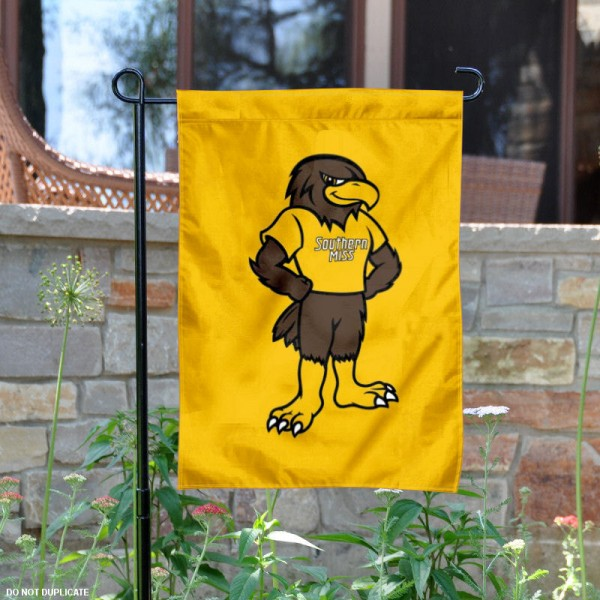 Southern Mississippi Seymour Mascot Garden Flag is 13x18 inches in size, is made of 2-layer polyester, screen printed University of Southern Mississippi athletic logos and lettering. Available with Same Day Express Shipping, Our Southern Mississippi Seymour Mascot Garden Flag is officially licensed and approved by University of Southern Mississippi and the NCAA.