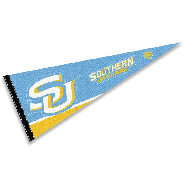 Southern University Pennant consists of our full size sports pennant which measures 12x30 inches, is constructed of felt, is single sided imprinted, and offers a pennant sleeve for insertion of a pennant stick, if desired. This Southern University Felt Pennant is officially licensed by the selected university and the NCAA.