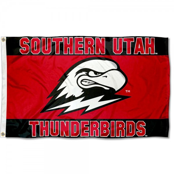 Southern Utah Thunderbirds Scarlet Red Flag is made of 100% nylon, offers quad stitched flyends, measures 3x5 feet, has two metal grommets, and is viewable from both side with the opposite side being a reverse image. Our Southern Utah Thunderbirds Scarlet Red Flag is officially licensed by the selected college and NCAA