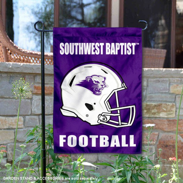 Southwest Baptist Bearcats Helmet Yard Garden Flag is 13x18 inches in size, is made of 2-layer polyester with Liner, screen printed university athletic logos and lettering, and is readable and viewable correctly on both sides. Available same day shipping, our Southwest Baptist Bearcats Helmet Yard Garden Flag is officially licensed and approved by the university and the NCAA.