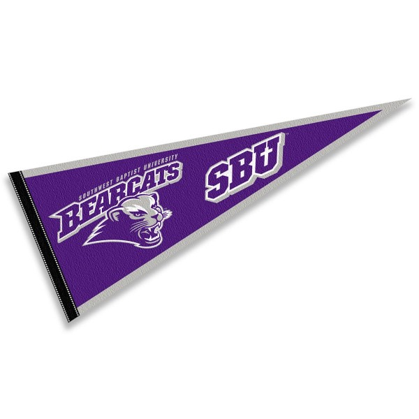 Southwest Baptist Bearcats Pennant consists of our full size sports pennant which measures 12x30 inches, is constructed of felt, is single sided imprinted, and offers a pennant sleeve for insertion of a pennant stick, if desired. This Southwest Baptist Bearcats Pennant Decorations is Officially Licensed by the selected university and the NCAA.