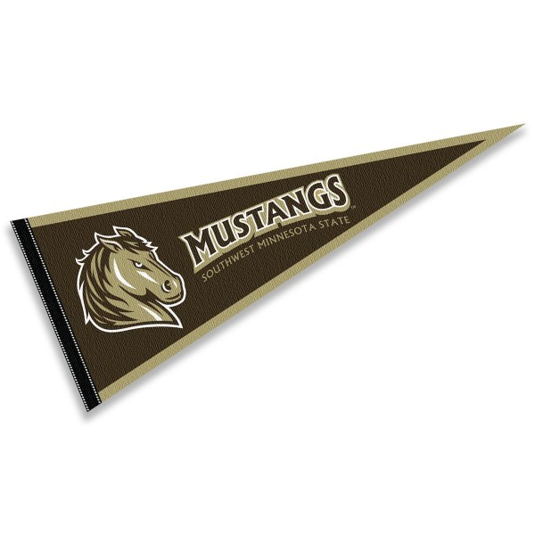 Southwest Minnesota State Mustangs Pennant consists of our full size sports pennant which measures 12x30 inches, is constructed of felt, is single sided imprinted, and offers a pennant sleeve for insertion of a pennant stick, if desired. This Southwest Minnesota State Mustangs Pennant Decorations is Officially Licensed by the selected university and the NCAA.