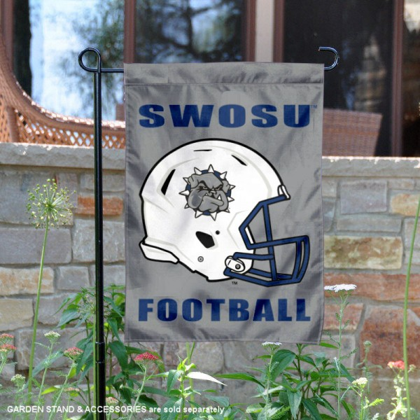Southwestern Oklahoma State University Football Helmet Garden Banner is 13x18 inches in size, is made of 2-layer polyester, screen printed Southwestern Oklahoma State University athletic logos and lettering. Available with Same Day Express Shipping, Our Southwestern Oklahoma State University Football Helmet Garden Banner is officially licensed and approved by Southwestern Oklahoma State University and the NCAA.