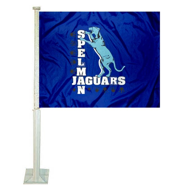 Spelman College Car Window Flag measures 12x15 inches, is constructed of sturdy 2 ply polyester, and has dye sublimated school logos which are readable and viewable correctly on both sides. Spelman College Car Window Flag is officially licensed by the NCAA and selected university.