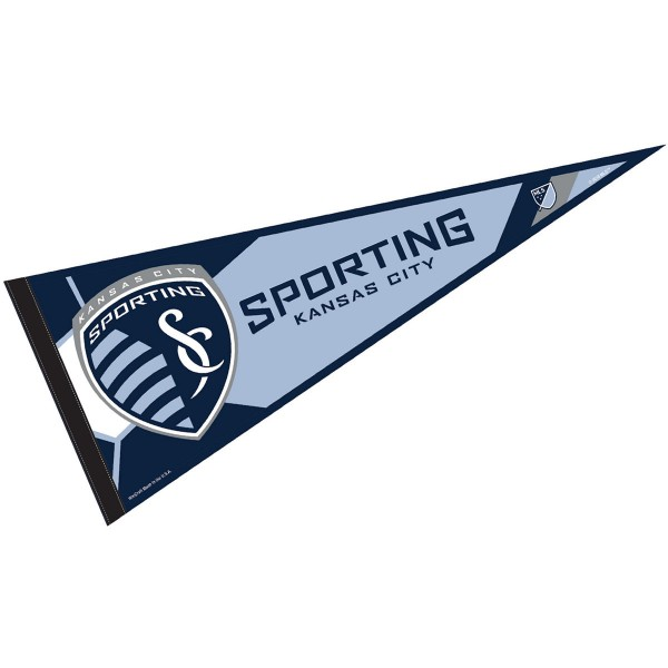 Sporting Kansas City Pennant is our Full Size MLS soccer team pennant which measures 12x30 inches, is made of felt, and is single sided screen printed. Our Sporting Kansas City Pennant is perfect for showing your MLS team allegiance in any room of the house and is MLS licensed.