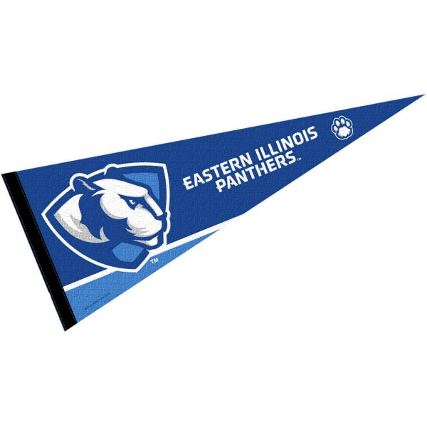 Sports Pennant for Eastern Illinois University consists of our full size sports pennant which measures 12x30 inches, is constructed of felt, is single sided imprinted, and offers a pennant sleeve for insertion of a pennant stick, if desired. This EIU Panther Felt Pennant is officially licensed by the selected university and the NCAA.