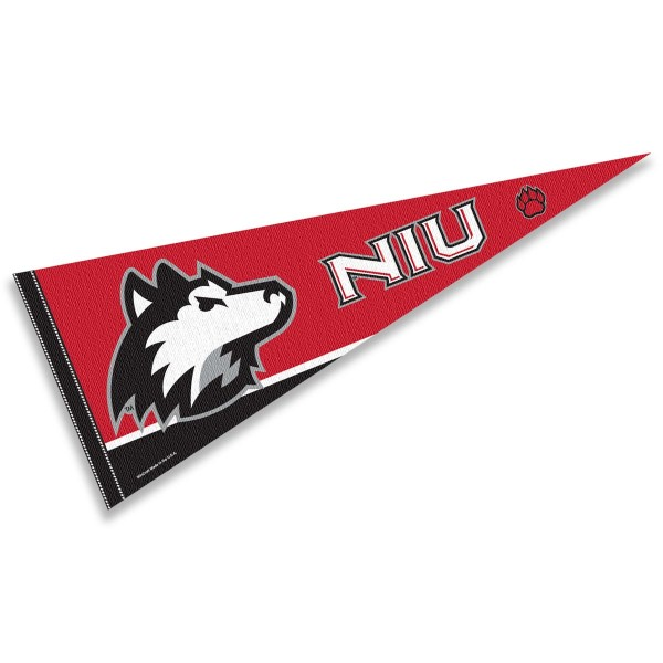 Sports Pennant for Northern Illinois University consists of our full size sports pennant which measures 12x30 inches, is constructed of felt, is single sided imprinted, and offers a pennant sleeve for insertion of a pennant stick, if desired. This Northern Illinois Husky Felt Pennant is officially licensed by the selected university and the NCAA.
