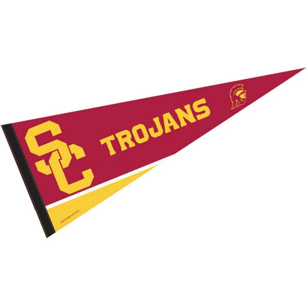 Sports Pennant for University of Southern Cal consists of our full size sports pennant which measures 12x30 inches, is constructed of felt, is single sided imprinted, and offers a pennant sleeve for insertion of a pennant stick, if desired. This USC Trojan Felt Pennant is officially licensed by the selected university and the NCAA.