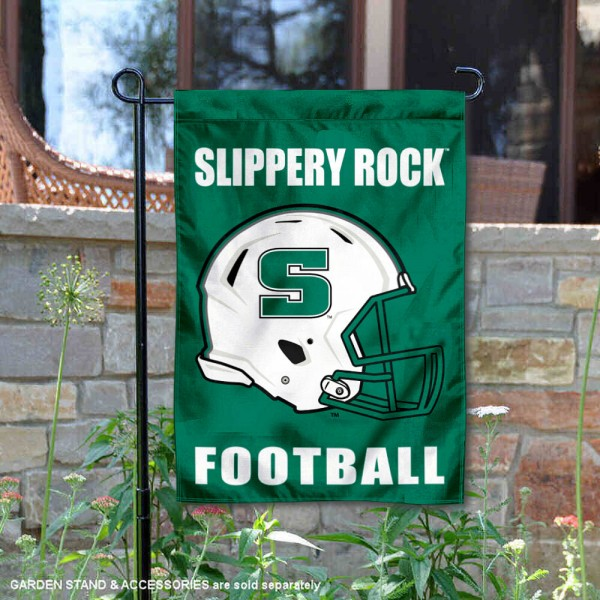 SRU The Rock Helmet Yard Garden Flag is 13x18 inches in size, is made of 2-layer polyester with Liner, screen printed university athletic logos and lettering, and is readable and viewable correctly on both sides. Available same day shipping, our SRU The Rock Helmet Yard Garden Flag is officially licensed and approved by the university and the NCAA.