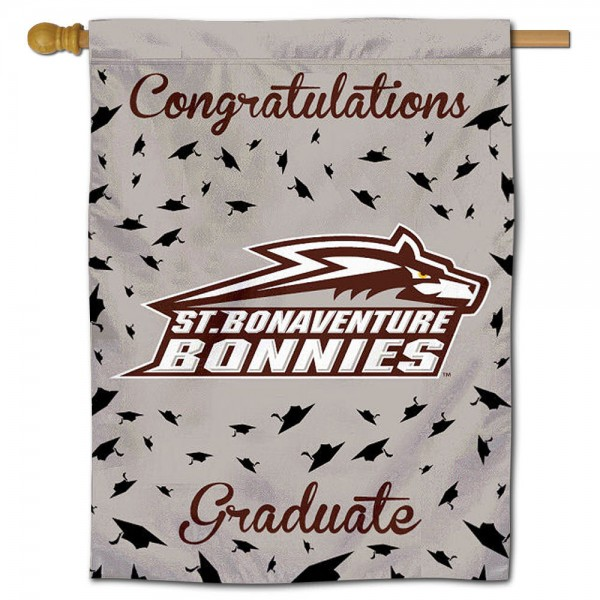 St. Bona Bonnies Congratulations Graduate Flag measures 30x40 inches, is made of poly, has a top hanging sleeve, and offers dye sublimated St. Bona Bonnies logos. This Decorative St. Bona Bonnies Congratulations Graduate House Flag is officially licensed by the NCAA.