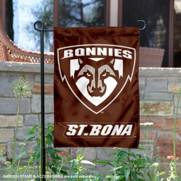 St. Bonaventure Bonnies Double Sided Garden Flag is 13x18 inches in size, is made of 2-layer polyester, screen printed university athletic logos and lettering, and is readable and viewable correctly on both sides. Available same day shipping, our St. Bonaventure Bonnies Double Sided Garden Flag is officially licensed and approved by the university and the NCAA.
