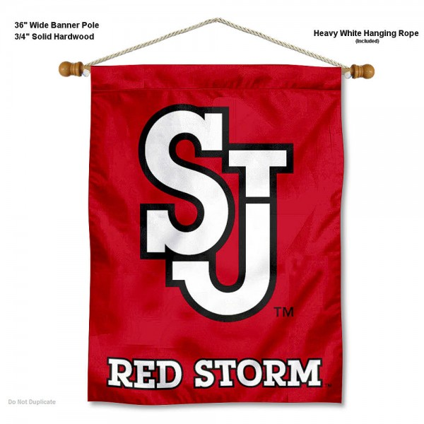 "St. John's Red Storm Wall Banner is constructed of polyester material, measures a large 30""x40"", offers screen printed athletic logos, and includes a sturdy 3/4"" diameter and 36"" wide banner pole and hanging cord. Our St. John's Red Storm Wall Banner is Officially Licensed by the selected college and NCAA."